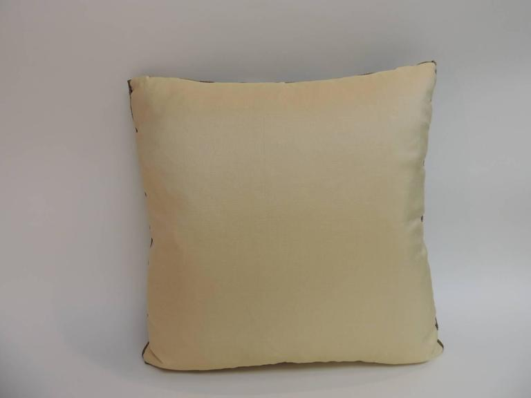 19th Century French Silk Brocade Royal Blue Square Decorative Pillow For Sale 1
