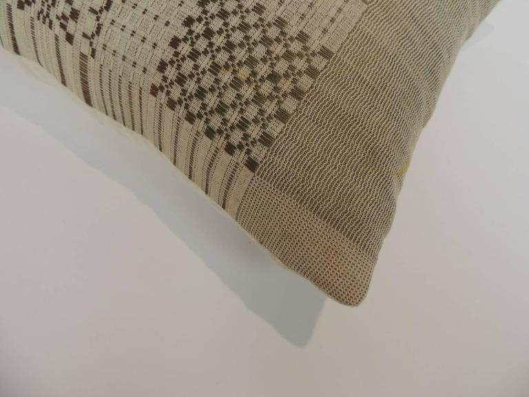 Hand-Crafted HOLIDAY SALE: Antique Coverlet Americana Woven Decorative Pillow For Sale