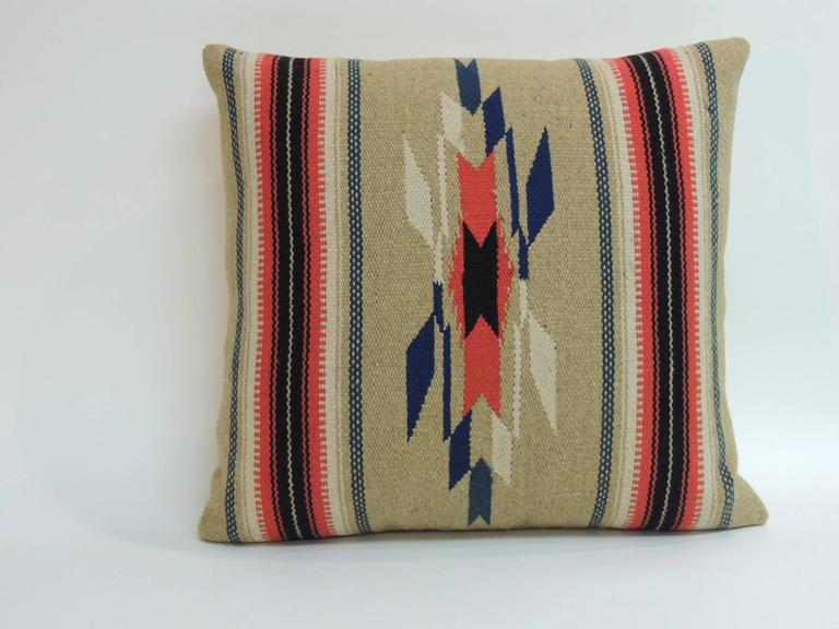 Vintage Square Southwestern Woven Wool Decorative Pillow For Sale at 1stdibs