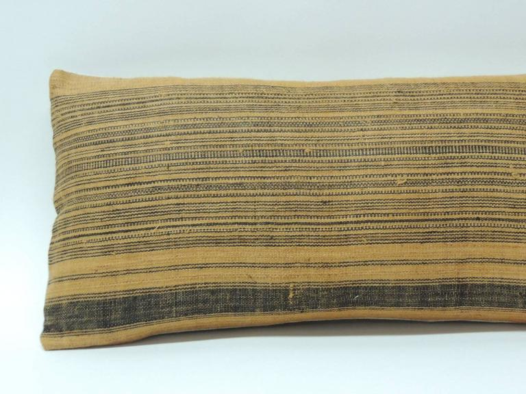 Striped Linen Throw Pillow : Vintage Chinese Homespun Linen Striped Decorative Bolster Pillow at 1stdibs