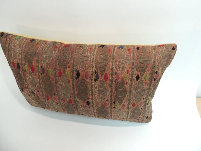 Tribal 19th Century Embroidered Asian Long Bolster Decorative Pillow For Sale