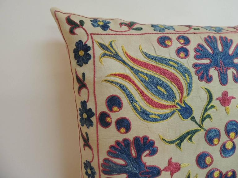 Floral Embroidered Decorative Pillow : Vintage Floral Suzani Embroidered Decorative Pillow For Sale at 1stdibs