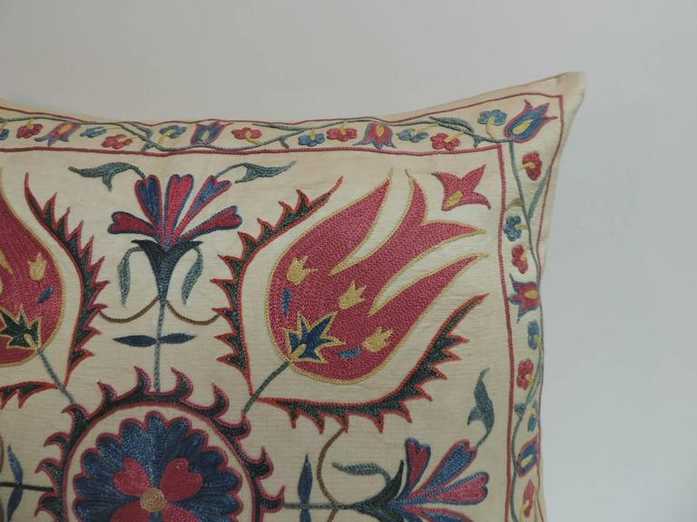 Vintage Floral Suzani Embroidered Decorative Pillow For Sale at 1stdibs