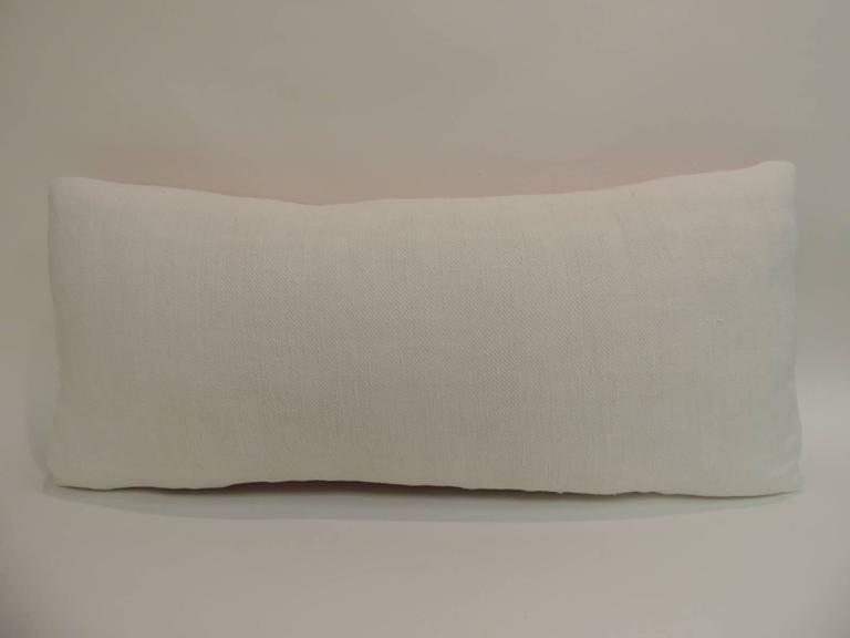 Vintage Pink Swedish Long Bolster Decorative Pillow For Sale at 1stdibs
