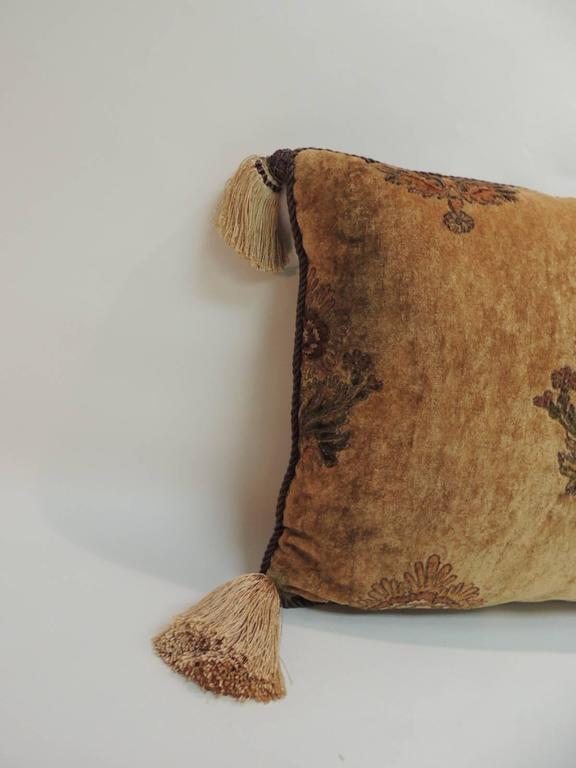 Arts and Crafts Large Gold and Brown Italian Embroidered Velvet Floral Decorative Pillow For Sale