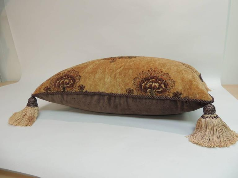 Large Gold and Brown Italian Embroidered Velvet Floral Decorative Pillow In Good Condition For Sale In Oakland Park, FL