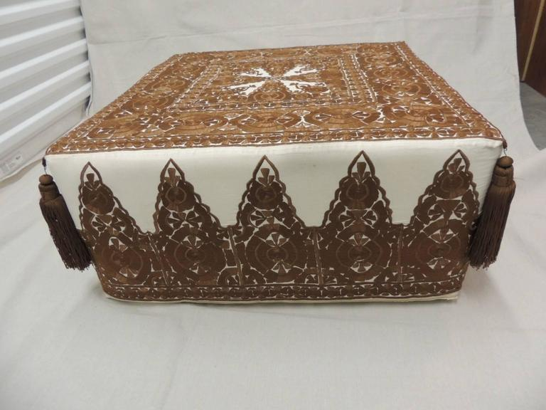 Modern Moroccan Brown Embroidered Square Ottoman With