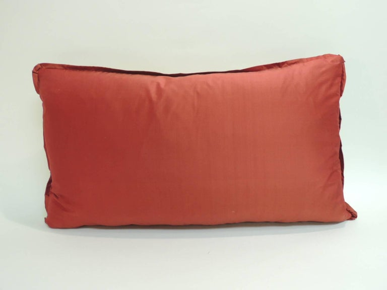 19th Century Japanese Bolster Decorative Pillow with Red Flat Trim In Excellent Condition For Sale In Oakland Park, FL