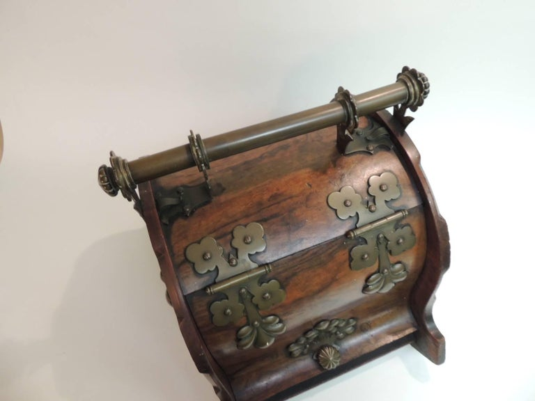 Antique American Arts and Crafts Wood and Brass Coal ...