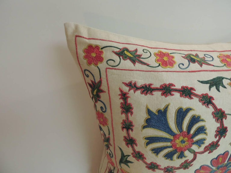 Floral Embroidered Decorative Pillow : Vintage Floral Motif Suzani Silk on Silk Embroidered Decorative Square Pillow For Sale at 1stdibs
