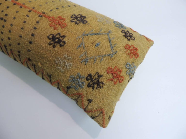 Tribal Turkish Yellow Woven Vintage Decorative Bolster Pillow For Sale