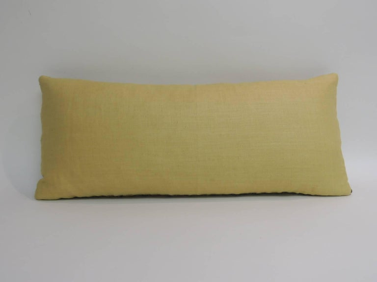 Hand-Crafted Turkish Yellow Woven Vintage Decorative Bolster Pillow For Sale