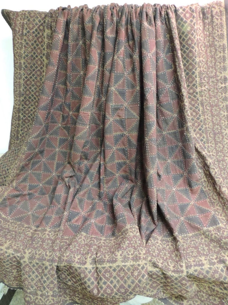 Moorish Large Vintage Quilted Indian Khanta King Size Blanket For Sale