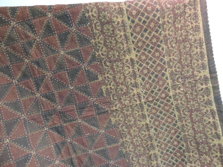 Late 20th Century Large Vintage Quilted Indian Khanta King Size Blanket For Sale