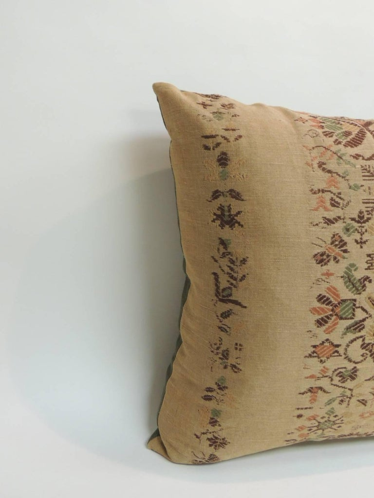 Arts and Crafts 19th Century Arts & Crafts Linen Floral Decorative Pillow For Sale