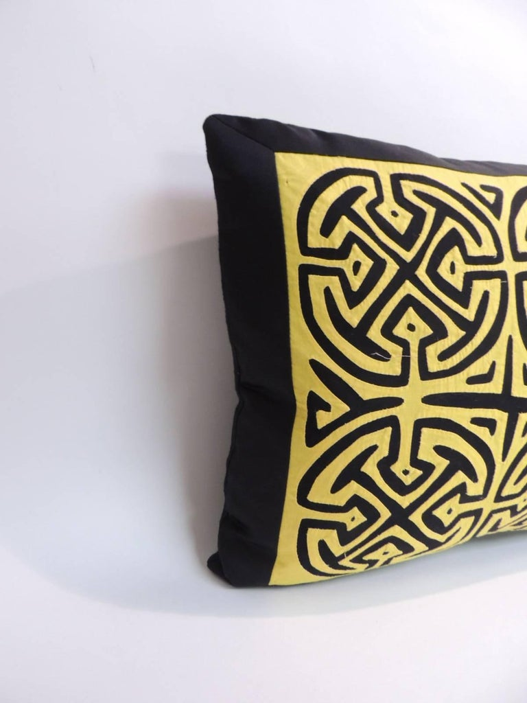 Yellow And Black Decorative Pillows : Vintage Yellow and Black Graphic Decorative Pillow For Sale at 1stdibs