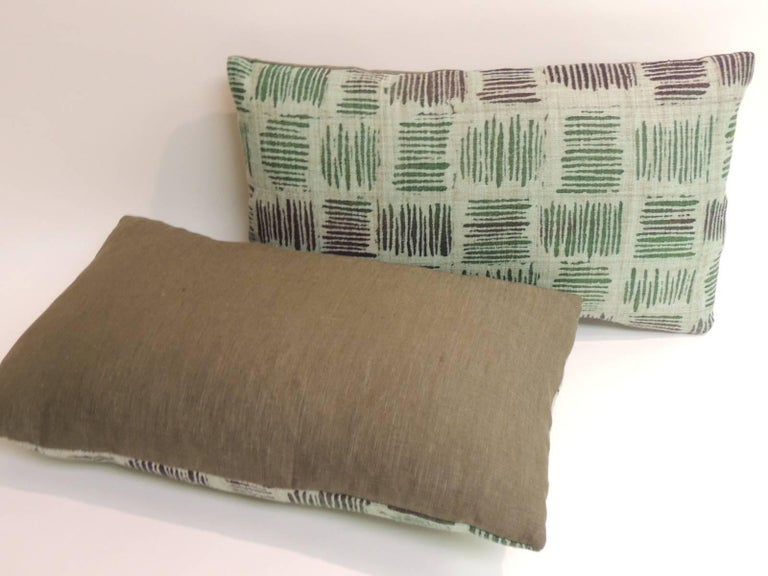Pair Of Vintage Hand Blocked Green And Brown Decorative Lumbar Impressive Green Brown Decorative Pillows