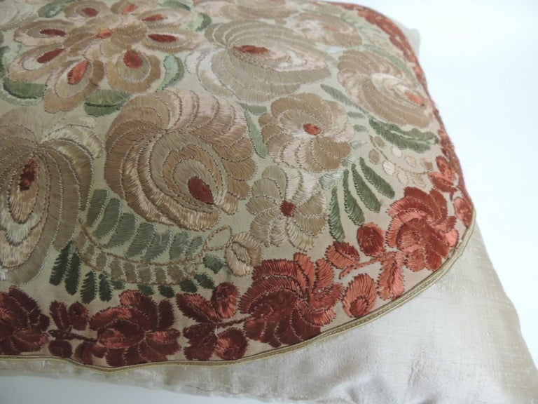 Bohemian 19th Century Orange and Red Silk Embroidery Floral Bolster Decorative Pillow For Sale