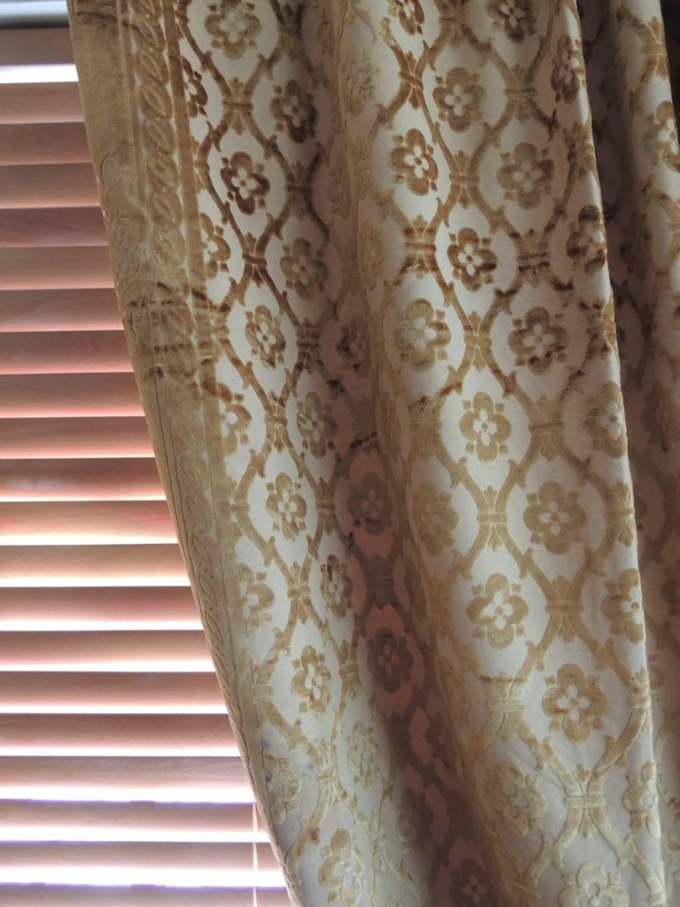 Hand-Crafted Pair of 19th Century Gold Silk Cut Velvet Goufrage Curtains For Sale
