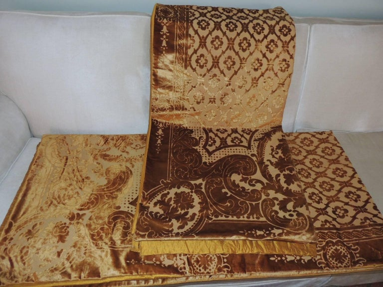 Pair of 19th Century Gold Silk Cut Velvet Goufrage Curtains For Sale 2