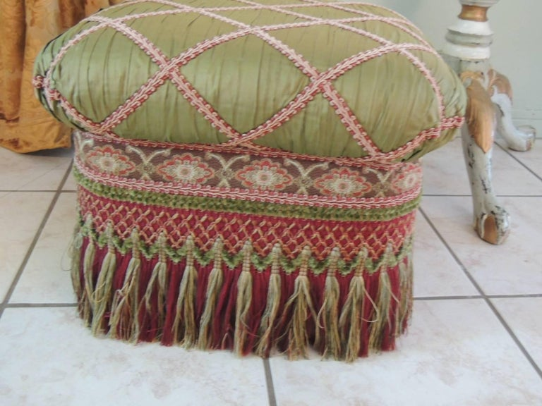 Pair Of Vintage Fringe Ottomans With Long Tassels And Trims At 1stdibs