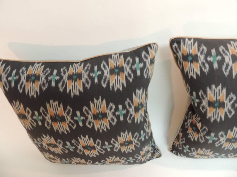 Pair of Ikat Decorative Pillows with Trim For Sale at 1stdibs