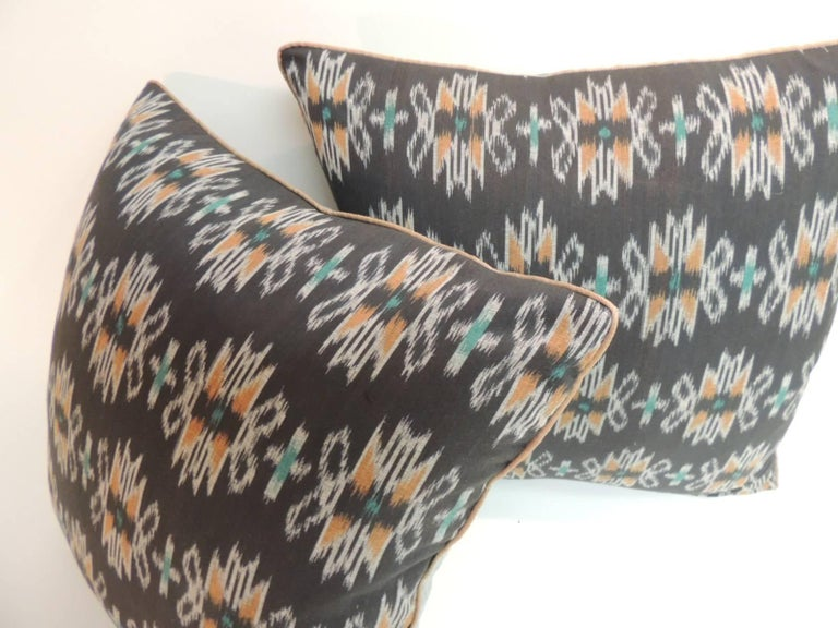 Tribal Vintage Pair of Woven Black Ikat Decorative Pillows with Trim