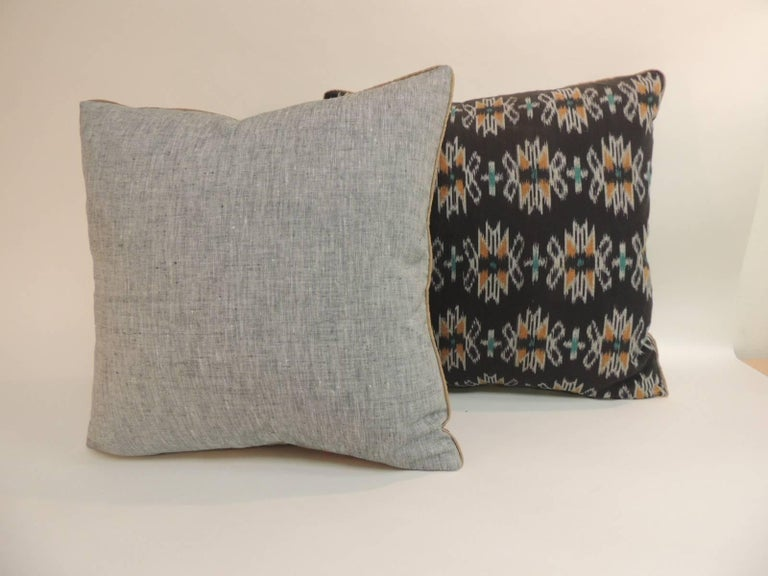 Asian Vintage Pair of Woven Black Ikat Decorative Pillows with Trim