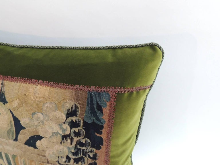 French 18th Century Aubusson Tapestry Decorative Pillow For Sale