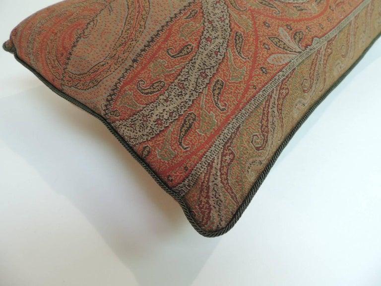 Anglo Raj Antique Kashmir Paisley Lumbar Decorative Pillow For Sale
