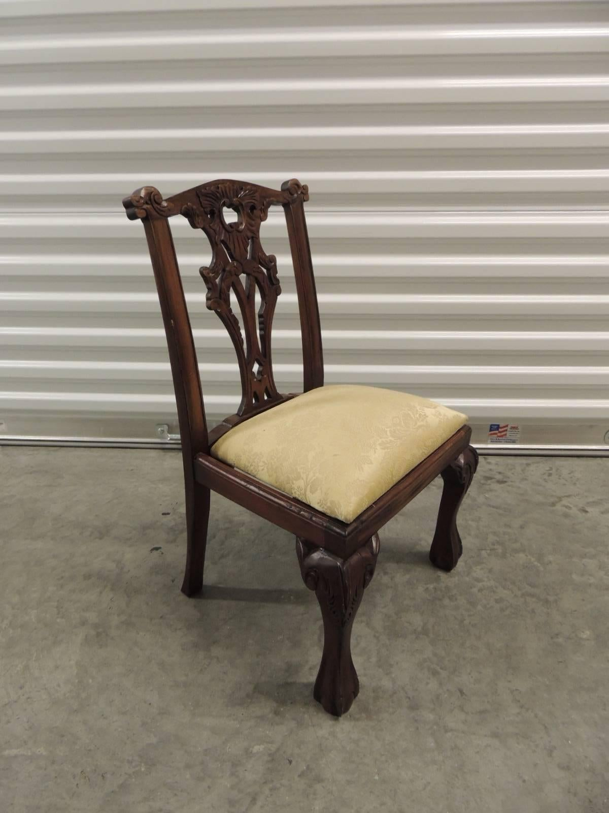 Offered by the Antique Textiles Galleries Vintage Chippendale style carved wood children chair Childrenu0027s chair & CLOSE OUT SALE: Vintage Carved Wood Children Chair For Sale at 1stdibs