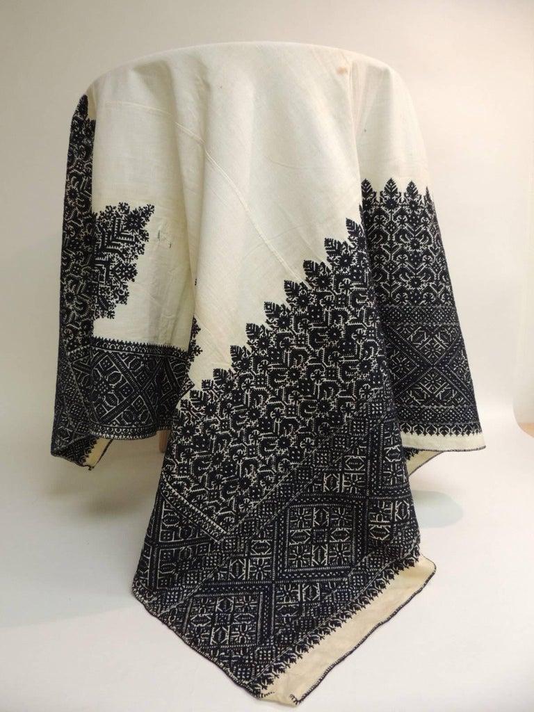 19th Century Indigo And Black Embroidery Moroccan Fez