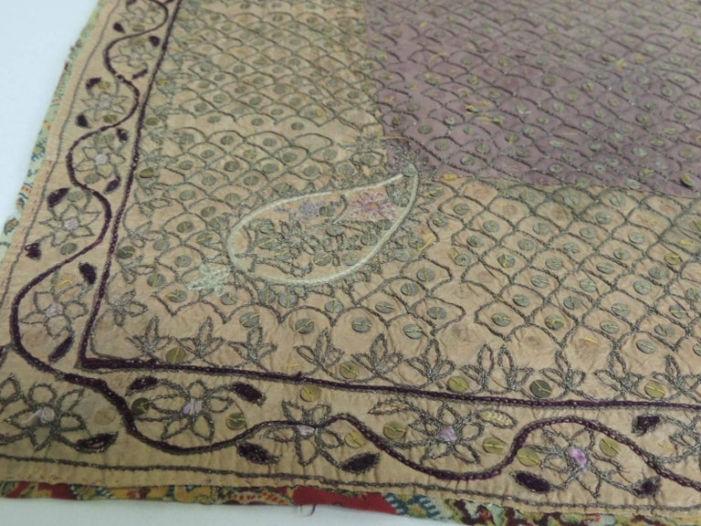 Anglo Raj 19th Century Indian Embroidery Textile with Brass Sequins Details For Sale
