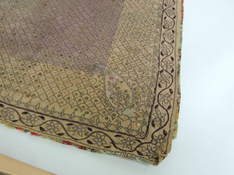 Hand-Crafted 19th Century Indian Embroidery Textile with Brass Sequins Details For Sale