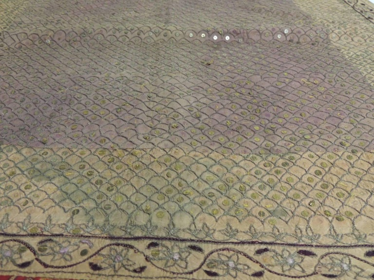 19th Century Indian Embroidery Textile with Brass Sequins Details In Good Condition For Sale In Fort Lauderdale, FL