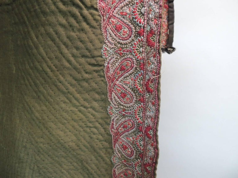 18th Century Red And Green Indian Paisley Embroidery Cloth
