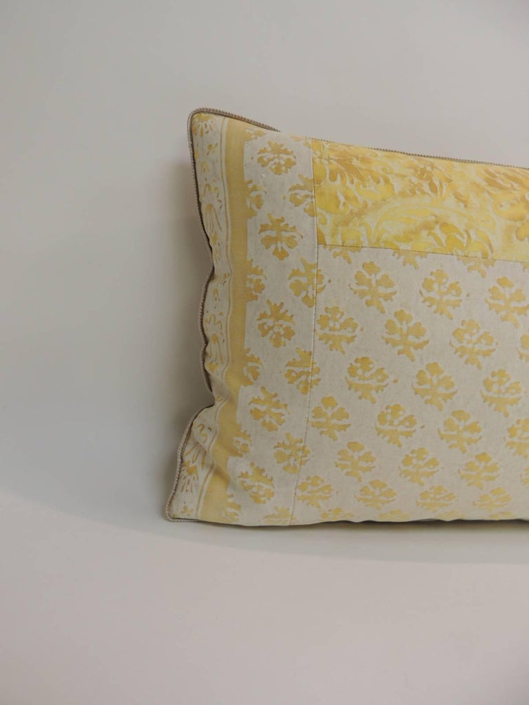 Vintage Fortuny Persiano textile yellow and silver patchwork style decorative bolster Bolster decorative pillow handmade with a vintage Fortuny Persiano textile in yellow and silver. Patchwork style. Throw pillow embellished with yellow silk backing