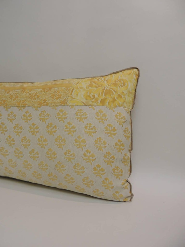 Regency Vintage Fortuny Persiano Textile Yellow and Silver Patchwork Decorative Bolster For Sale