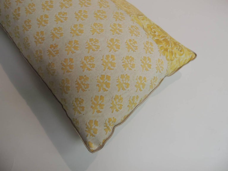 Italian Vintage Fortuny Persiano Textile Yellow and Silver Patchwork Decorative Bolster For Sale