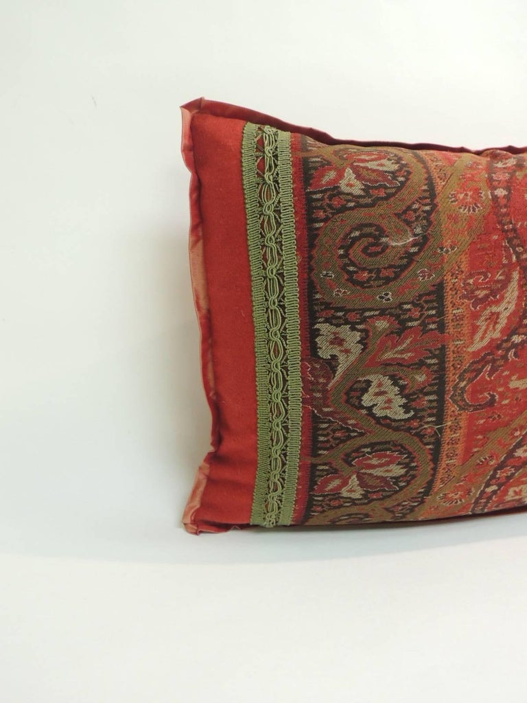 Decorative Black Lumbar Pillow : 19th Century Red and Black Kashmir Paisley Lumbar Decorative Pillow For Sale at 1stdibs