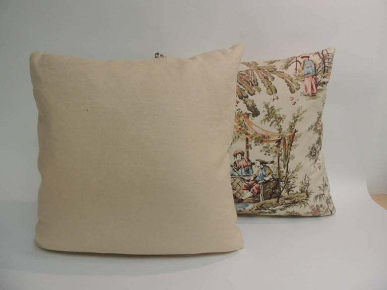 CLOSE OUT SALE Pair Of Vintage Toile Polished Cotton Decorative Enchanting Toile Decorative Pillows