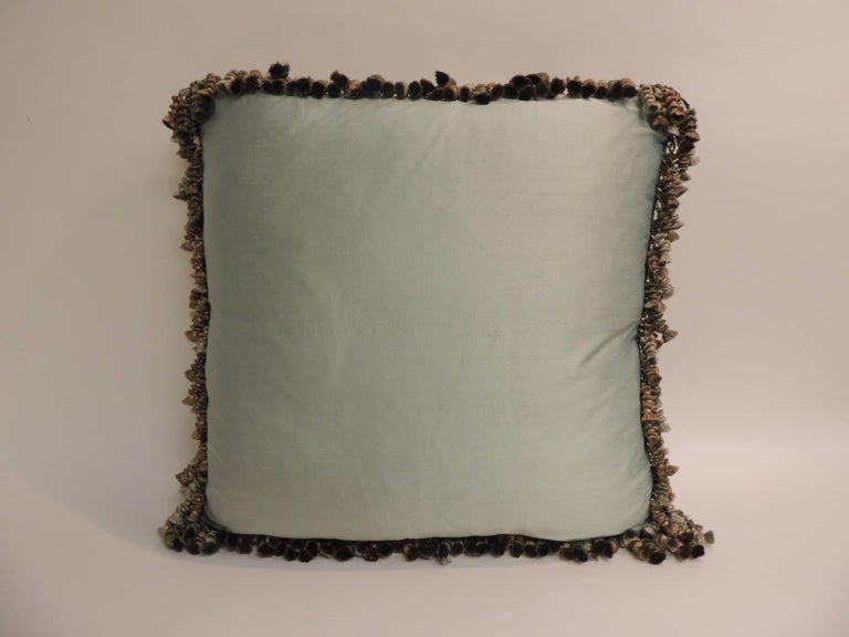 Regency 19th Century Green and Gold Silk Velvet Decorative Pillow with Tassels For Sale