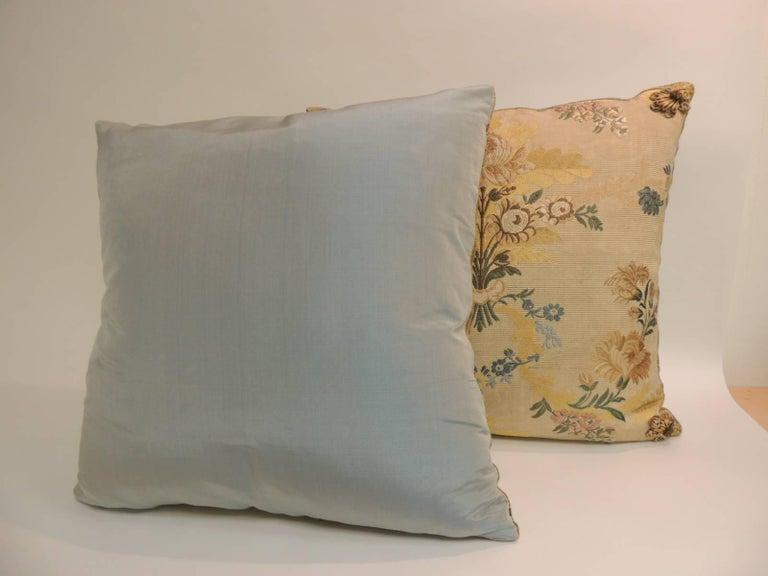 Regency Pair of Antique French Silk Brocade Yellow and Blue Decorative Pillows For Sale