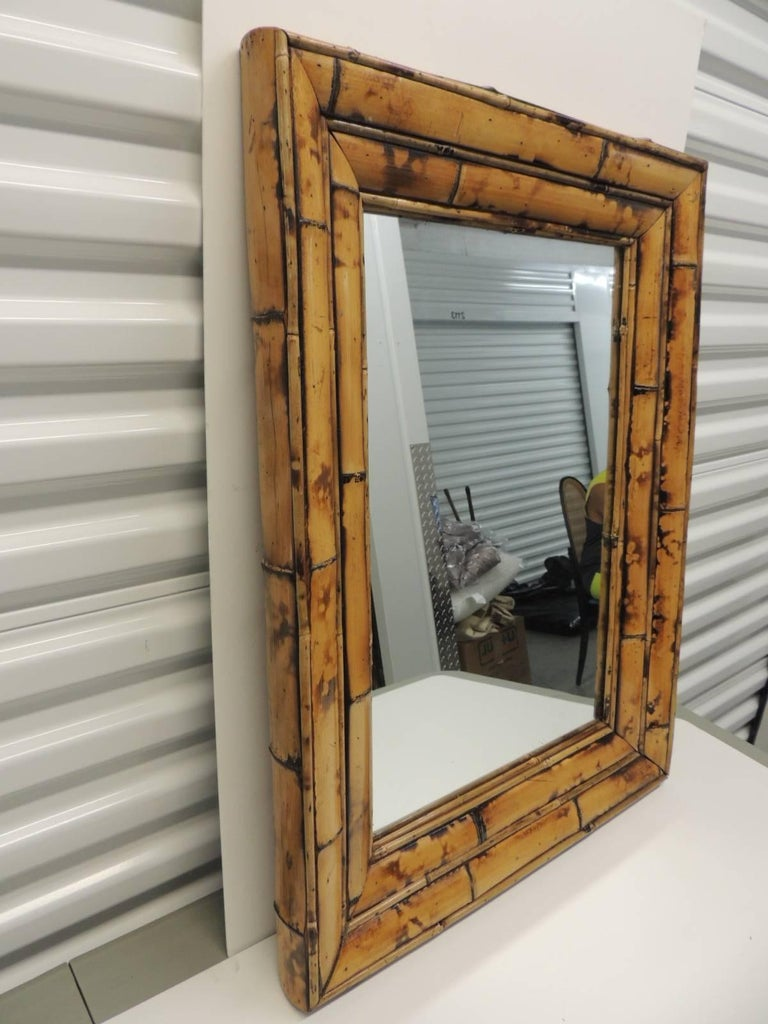Vintage Rectangular Bamboo Mirror At 1stdibs