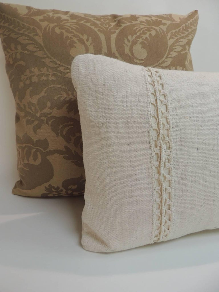 Antique french linen lumbar decorative pillow for sale at 1stdibs - Decorative throws for furniture ...