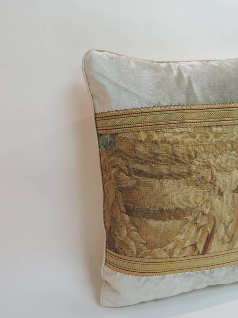 French 19th Century Aubusson Tapestry and Grey Silk Velvet Decorative Pillow For Sale