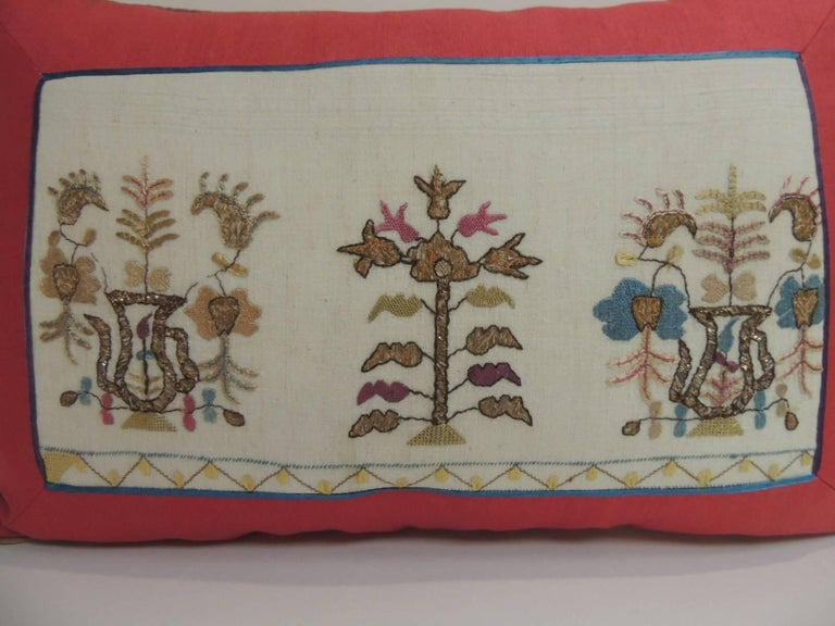 Anglo Raj 19th Century Turkish Embroidered Linen and Silk Lumbar Decorative Pillow For Sale