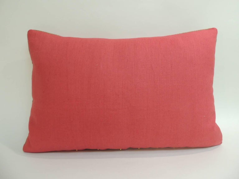 Hand-Crafted 19th Century Turkish Embroidered Linen and Silk Lumbar Decorative Pillow For Sale