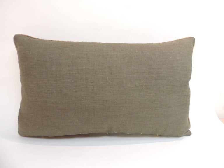 Hand-Crafted 19th Century Turkish Embroidery Lumbar Decorative Pillow For Sale