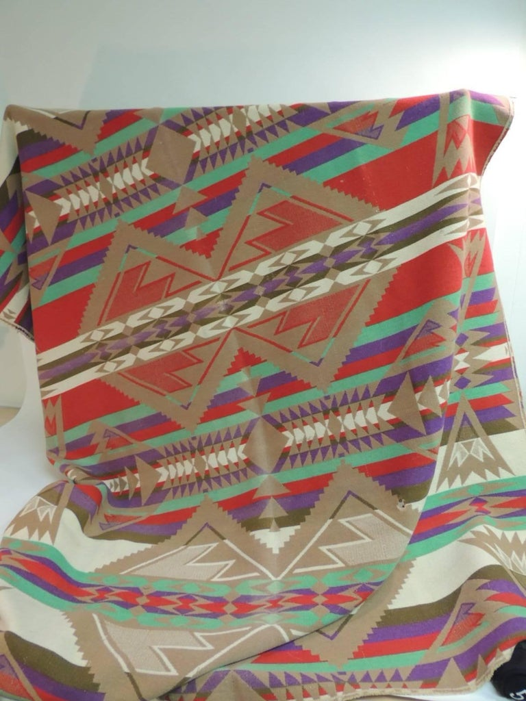 Hand-Crafted Large Vintage Pendleton Wool Blanket Navajo Style For Sale